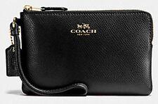 NWT Coach Corner Zip Wristlet in Crossgrain Leather Imitation Black F58032 (W03)