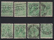 Bulk KGV ½d Green x 8. Official Perf 'OS'. Shades. Used (C331)