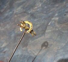 Atractivo 15ct Oro Broche/pin de palo c.1910 que ejecuta Fox y Herradura/Caza