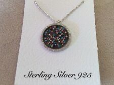 925 STERLING SILVER  EVIL EYE  ROUND  CZ MULTI COLOR GREEK MATI NECKLACE N-1332