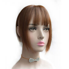 Clip in Hair Extensions Straight Wiglet With Bangs Full Hand Made Human Hair