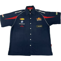 F1 Formula 1 Red Bull Racing Team Blue Button Up Shirt Size 2XL Castrol Michelin
