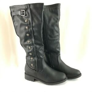 Dream Pairs Womens Boots Faux Fur Lined Button Faux Leather Black Size 8.5