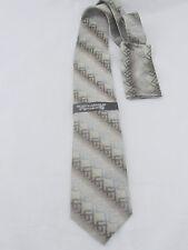 NEW - Stacy Adams Brown Gray Black Striped Pattern 100% Silk Tie + Hanky NWT