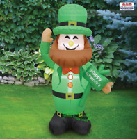 4' Air Blown Inflatable St. Patricks Day Leprechaun w/ Sign Home Yard Decor