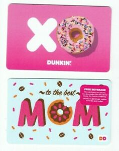 Dunkin Donuts Gift Card - LOT of 2 - XO & Best Mom - Coffee - No Value