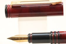 Vintage Waterman Forum Fine Fountain Pen, Red Marble with Black Piping
