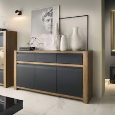 Havana Modern 160cm Wide 3 Door 3 Drawer Sideboard Unit In Lefkas Oak & Black