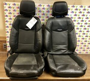 2017 CADILLAC ATS 2.0T SEDAN FRONT LEFT AND RIGHT OEM BLACK LEATHER SEATS