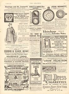 1894  ANTIQUE PRINT -ADVERT- SWAN FOUNTAIN PENS, GOLF CAPES,HOUSEHOLD LINENS