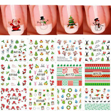 12 Sheet Christmas Snowflakes Snowmen 3D Nail Art Stickers Tips Decoration DIY