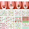 12 Sheet Christmas 3D Nail Art Stickers Snowflakes Snowman Nail Decals-WI