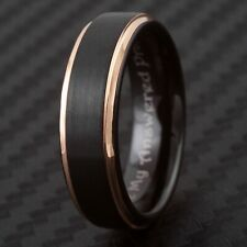 """CLOSEOUT! Tungsten Rose Gold & Black Ring Size 5.5 Engraved """"My Answered Prayer"""""""
