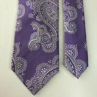 Ben Sherman Men's Purple White Paisley 100% Silk Necktie Tie