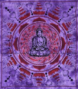 Buddha bohemian mandala indian cotton tapestry wall hanging bedspread queen size