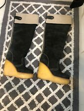 SEE BY CHLOE Gray Suede boots / wedges sz. 37 7 Knee High Shearling SOLD OUT!!