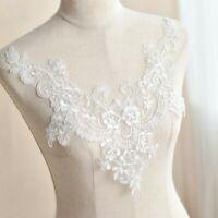 Floral Lace Sew On Yoke Collar Bridal Wedding Dress Motif Applique Patch Trim