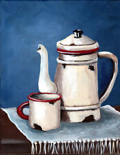 Enamel ware primative still life  8x10 reproduction of original acrylic painting