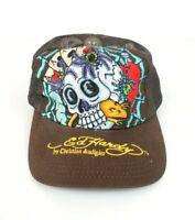 ED HARDY Christian Audigier The Catcher NWT Trucker Snapback Hat Cap Brown NEW