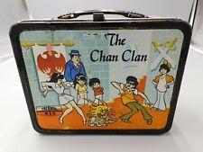 VINTAGE ULTRA RARE 1973 THE CHAN CLAN BLACK RIM METAL LUNCHBOX Controversial box