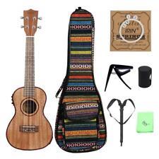 Sapele Ukulele Concert Electric Acoustic Ukelele Uke 24 inch with Gig Bag