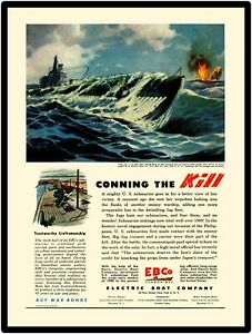 World War Two Electric Boat Co. New Metal Sign: EBCO Submarines in Pacific War