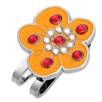 Plum Blossom Crystal Metal Golf Ball Marker with Hat Clip Golfer Gift