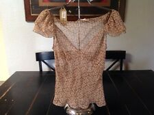 MAX STUDIO Brown And Beige 100% Silk Cap Sleeve New With Tags Originally $98