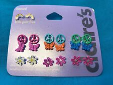 10 Pairs Of Claires Earrings Peace Signs Butterflies Flowers Rainbows