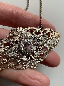 Antique Sterling Silver Necklace Amethyst Crystal Collana Argento 925 Filigrana