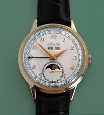 Vintage 50s  Le Coultre Vacheron Triple Calendar Moon Phase Large Men's Watch
