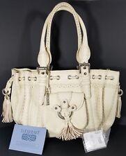 Lockheart Large Embroidered Braided Creme Catherine White Leather Handbag Purse