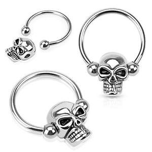 1pc Skull 316L Surgical Steel Captive Bead Ring / Nipple Ring / Circular Barbell