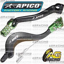 Apico Black Green Rear Brake & Gear Pedal Lever For Kawasaki KXF 450 2006-2008