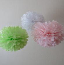 18x white tissue paper pom poms green pink wedding birthday baby room decoration