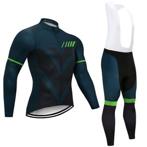 Men's Outdoor Ride Cycling Long Sleeve Jerseys Sports Bib Pants 3D Pad Racing