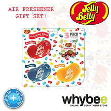 JELLY BELLY IN CAR AIR FRESHENER GIFT SET inc 3 FLAVOURS & JELLY BEAN SWEETS