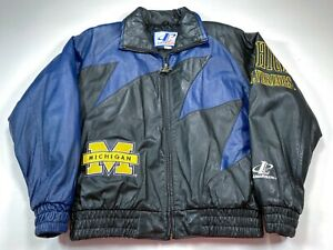 University of Michigan Wolverines M Logo Athletic Leather Jacket Men's Medium