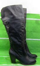 "new ladies  Black 3.5""block High Heel back  Stud Sexy Knee Boots Size 10"