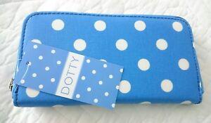 BNWT Blue & White Polka Dots Oil Cloth Long Zip Purse by Dotty
