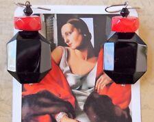 Red Coral & Onyx Dangle Earrings
