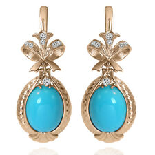 14k Solid Rose Gold Genuine Diamond & Turquoise Russian Style Earrings #E1425