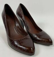 "GIANNI BIANI Women's Size 7M Brown Croc 3.5"" Heels Closed Toe Pumps Shoes"