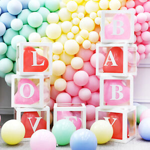 3pcs/4pcs Set Balloon Boxes Box BABY LOVE ONE NYE EID Shower Wedding Birthday