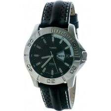 Timex T2J081 Watch Mens Black Perforated Leather Strap Luminous Hands and Hours