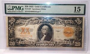 Lot of (5)1922 PMG Gold Certificates, Middle Grade Details, (2) pmg