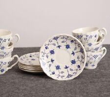 Set of 6 Myott Finlandia Cups & Saucers Blue Transferware Viking