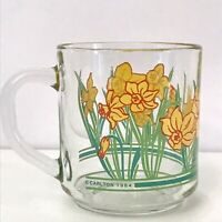 Vintage 1984 Carlton Cards Glass Coffee Cup Mug Daffodil Butterfly Yellow Green