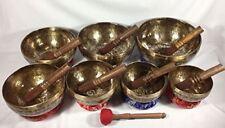 Singing bowl Chakra set-Handmade singing bowl 7 chakra set from Nepal thamelmart