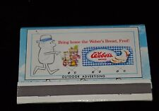 Vtg Matchbook Front Strike Weber's Bread Outdoor Advertising UnStruck Cover